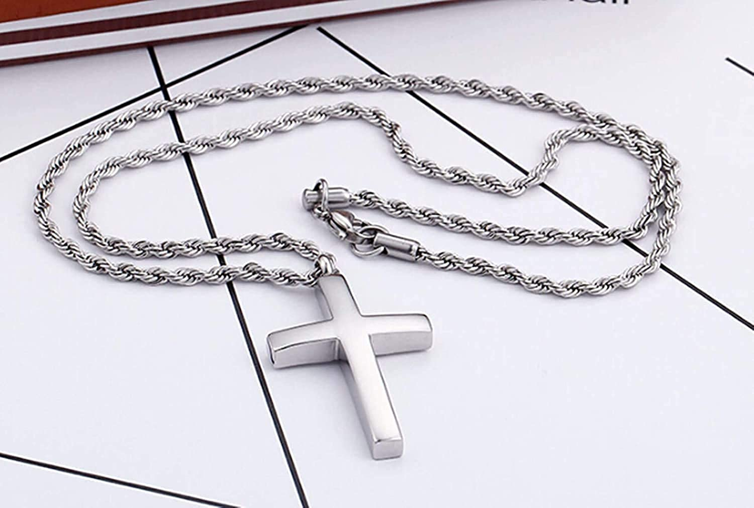 LOPEZ KENT Mens Necklace Stainless Steel Necklace Pendant Polished Cross Necklace Silver Necklace Pendant