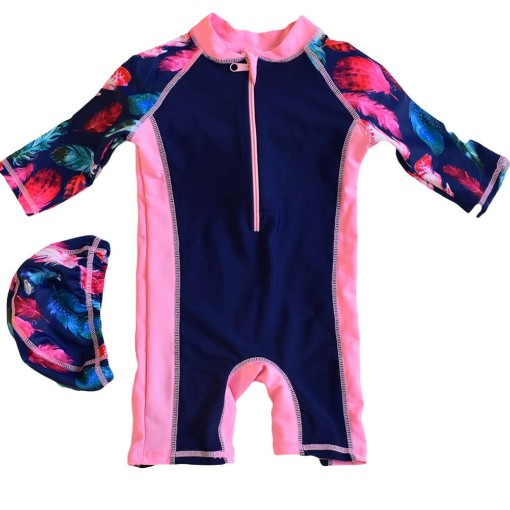 UV Protective 2-12 Years KiKibaby Toddlers /& Big Girls Swimsuit One-Piece Tankini UPF 50