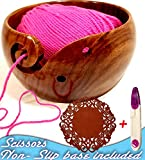 Yarn Bowl, Knitting and Crochet Bowl,Yarn Bowls for Storage 6x3.5 FREE 5 inch Non-Slip Silicone Basemat and Yarn Scissors Sheesham Wood Unbreakable Quality Brought to you by CPP Global