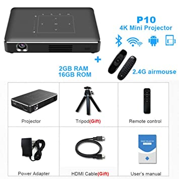 DJG Mini proyector 4K, Android 6.0 Bluetooth, 4100 mAh de la ...