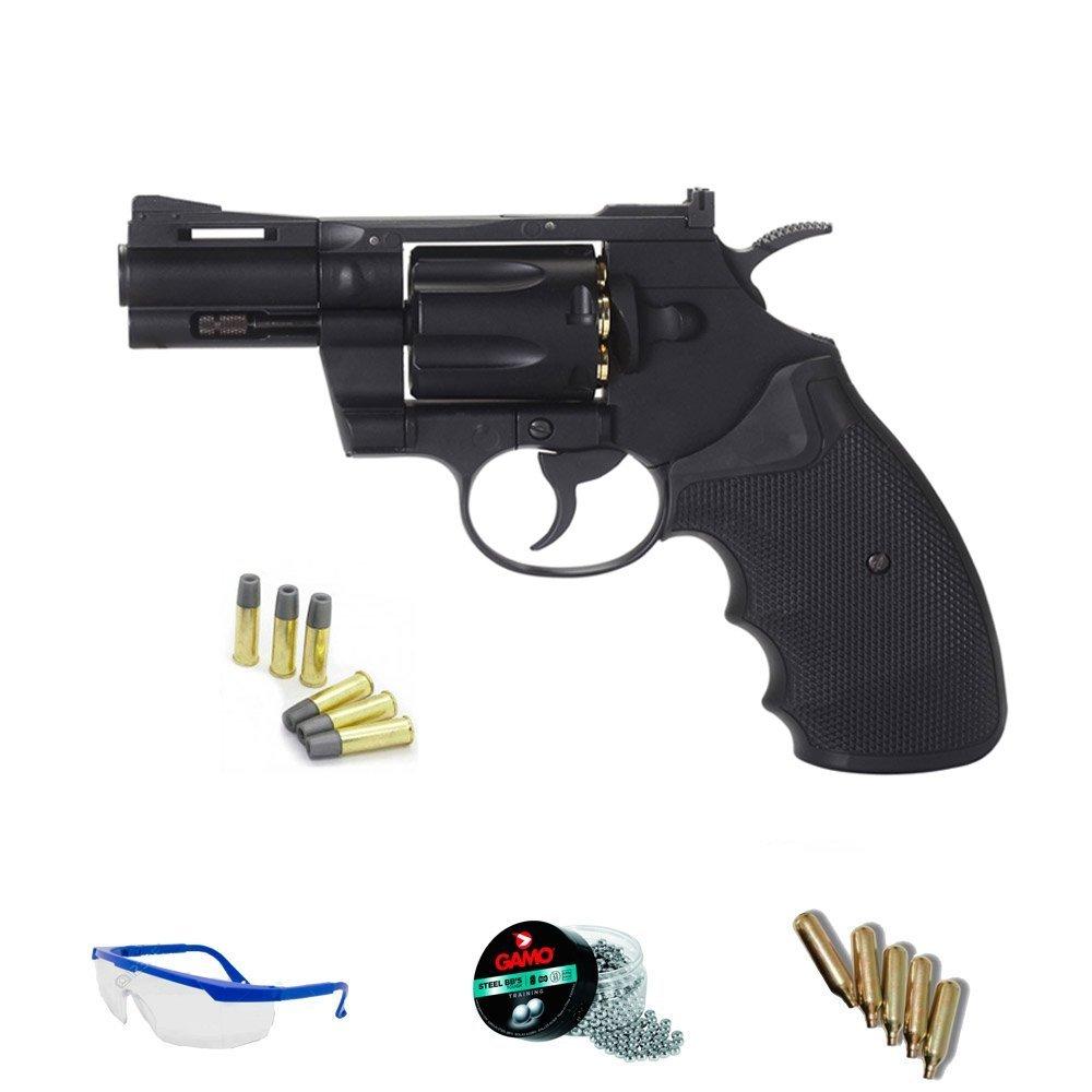 """PACK revólver de aire comprimido KWC 357 2,5"""" model - Arma de CO2 y balines BBs (perdigones de acero) FULL METAL 5J"""