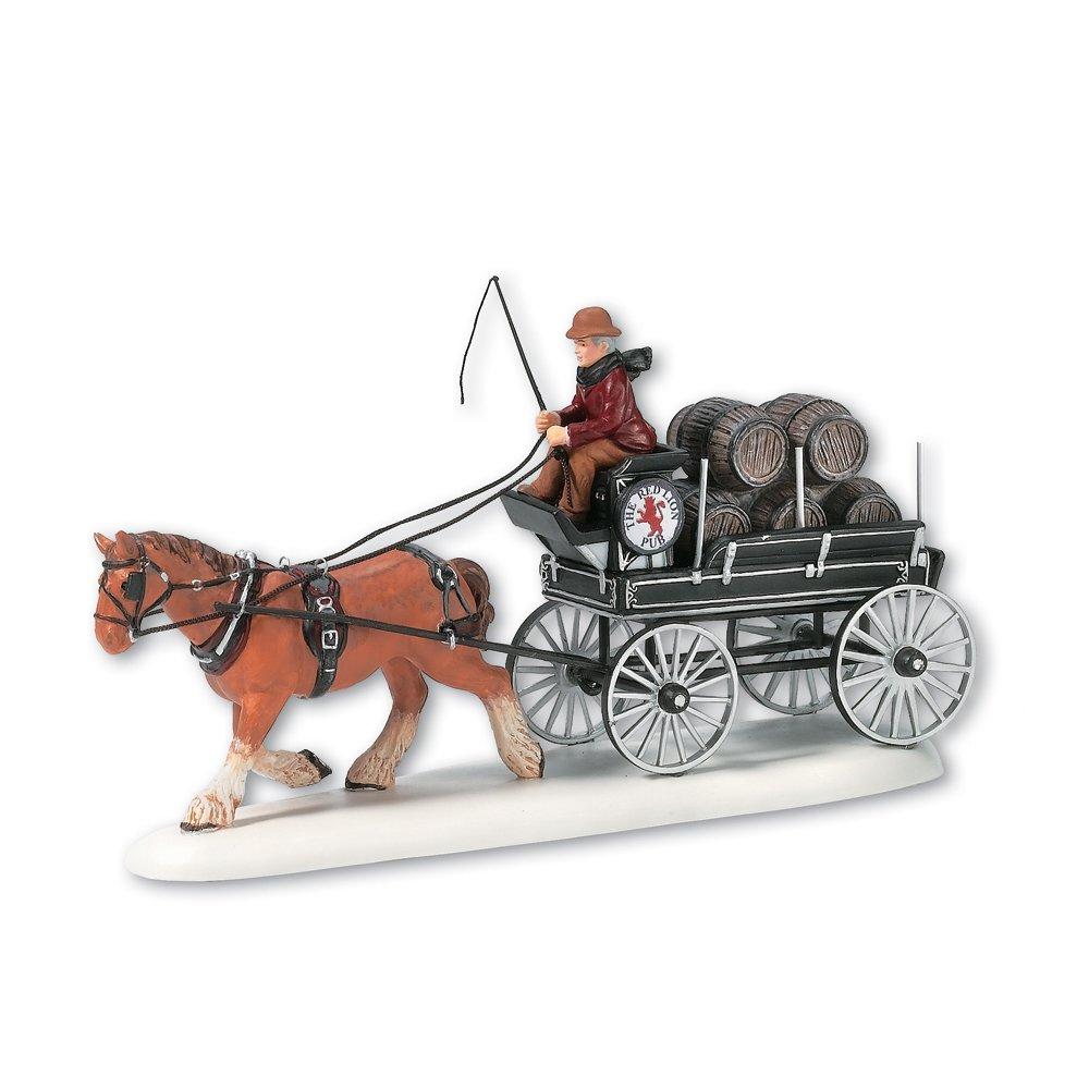 Department 56 Dickens' Village Red Lion Pub Beer Wagon Miniature Lit Building