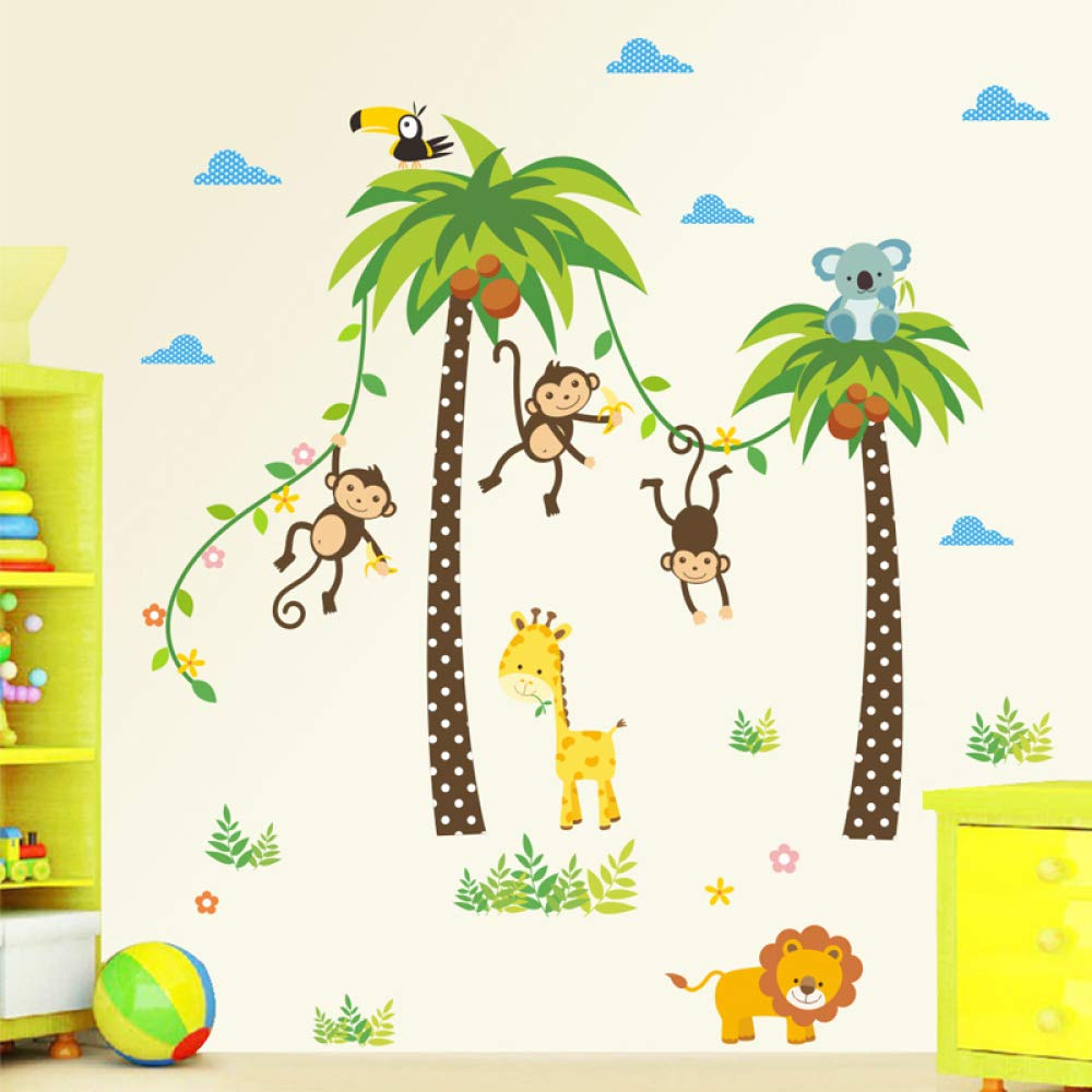Jirafa Lion Monkey Palm Tree Forest Animals Pegatinas de pared para habitaci/ón de ni/ños Ni/ños Dormitorio Tatuajes de pared Decoraci/ón de guarder/ía Cartel Mural en pegatinas de pared 30cm 90cm