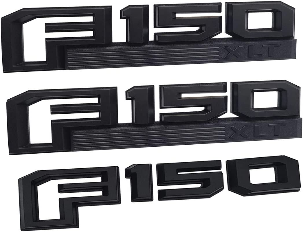 2pcs F150 XLT Fender Emblems Drivers Side Rear Tailgate Nameplates Stickers Rplacement for 2015-2019 Ford F-150 Black//red