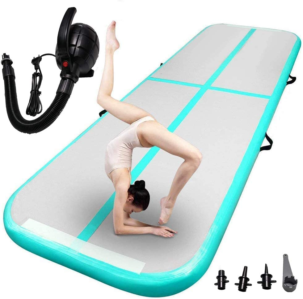 TFSUUUP 10ft/13ft/16ft/20ft/23ft Air Track Tumbling Mat Inflatable Gymnastics Training Mats Tumbling Mats Airtrack Mat 4Inch Thickness for Home Use/Training/Cheerleading/Yoga/Water Fun with Air Pump : Sports & Outdoors