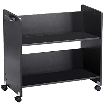 Go2buy Movable Library Home Book Cart Rolling Book Storage Rack Trolley  Black