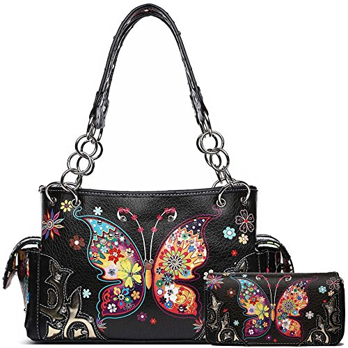 Western Style Spring Butterfly Flower Concealed Carry Purse Women Country Handbag Shoulder Bag Wallet Set (Black - Butterfly Purse