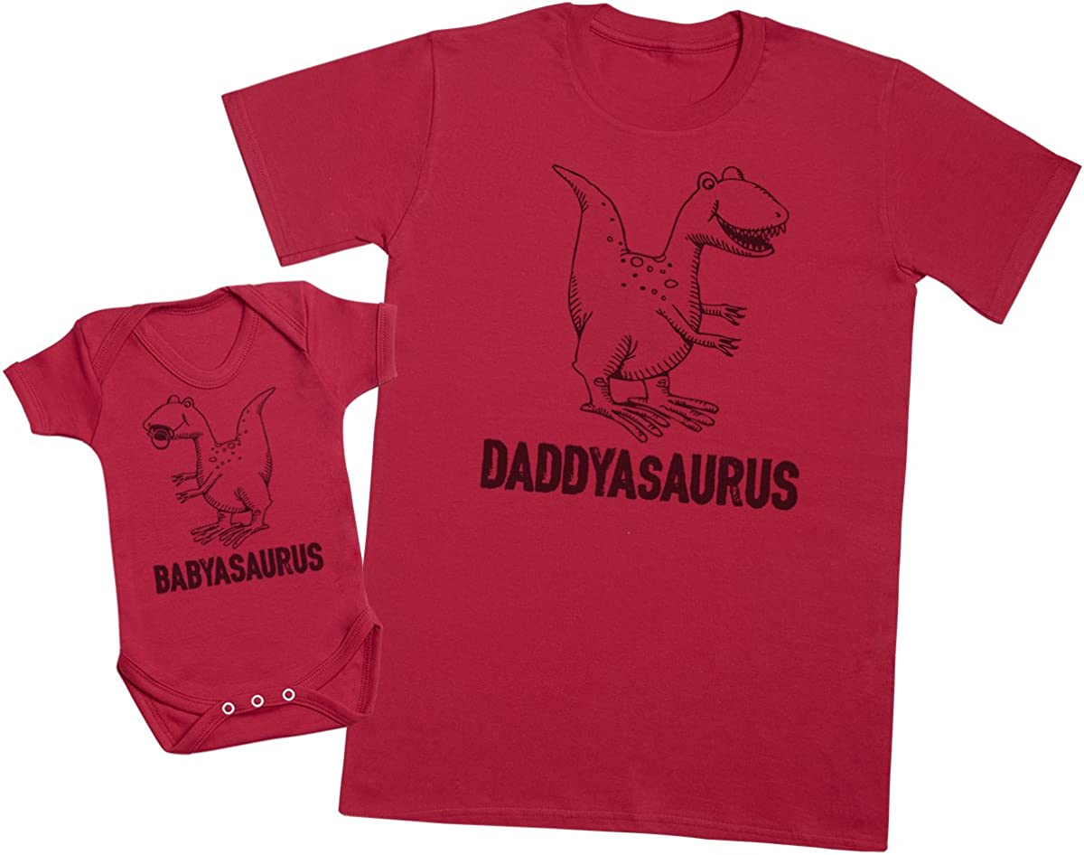 Mens T Shirt /& Baby Bodysuit Zarlivia Clothing Daddysaurus /& Babysaurus Matching Father Baby Gift Set