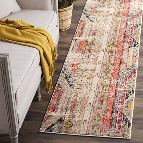 Safavieh Monaco Collection MNC222G Modern Bohemian Light Grey Distressed Runner (2'2