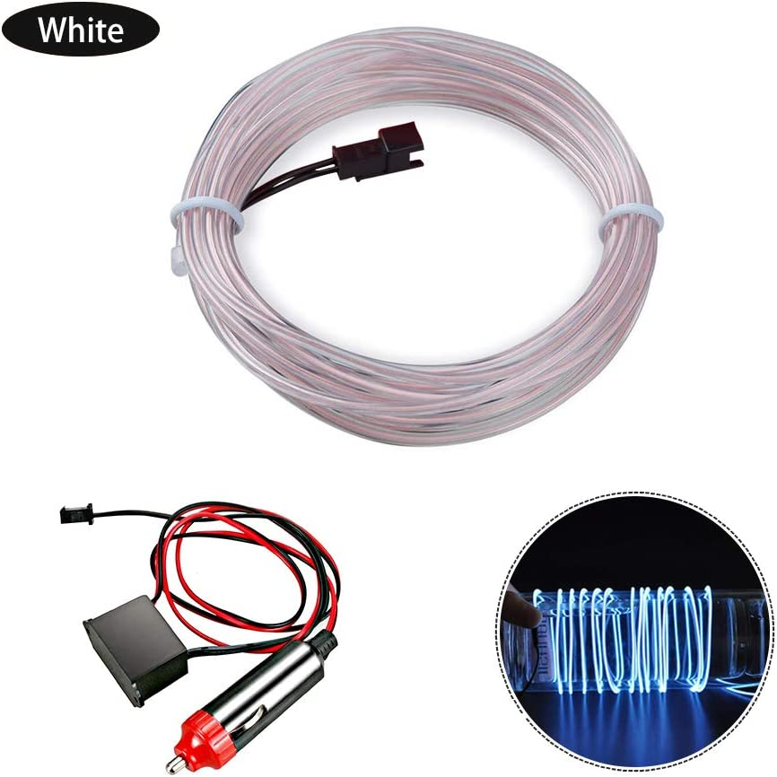 LUBINXUN 3M Electroluminescent Wire Green 12V Interior Car Light Glowing Strobing Neon Light for Car Decoration EL Wire