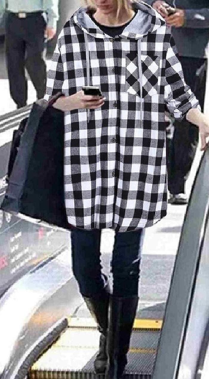 XiaoShop Women Fall Winter Hood Cardi Plaid Back Cotton Outwear Jacket