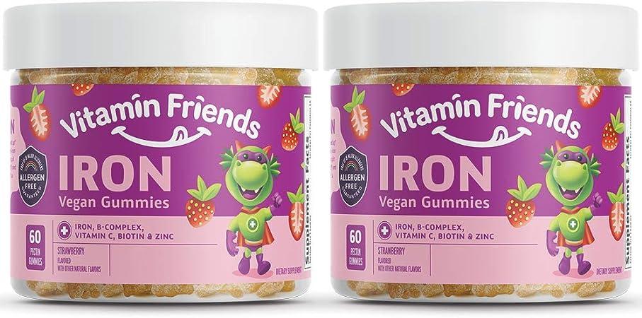 Vitamin Friends - Iron Supplements for Kids (2 Pack) B-Complex, Vitamin C, Zinc, Biotin - Iron Gummies Support Healthy Body Function Iron Levels - Vegan, Allergen Free…