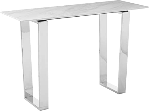 Meridian Furniture Carlton Collection Modern Contemporary Marble Top Console Table with Stainless Steel Base and Polished Chrome Finish, 48 W x 17.5 D x 30 H,