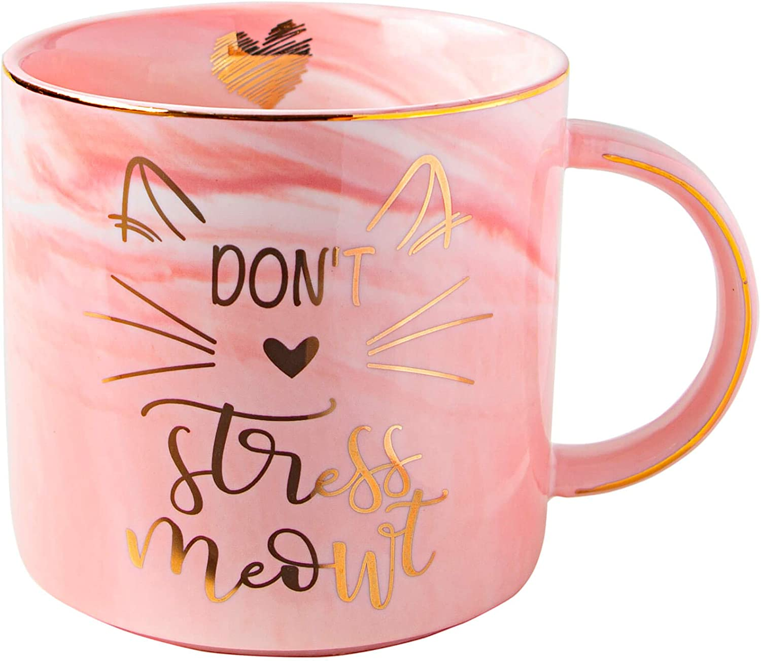 Vilight Cat Mom Gifts for Cat Lovers – Funny Cat Mug for Women and Girls - Don't Stress Meowt Cute Coffee Cup 11 Oz