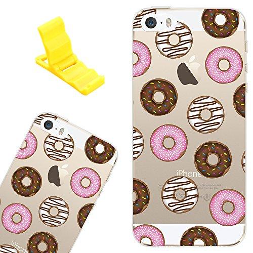 Funda para Apple iPhone 6/6s, SXUUXB iPhone 6 Carcasa Cristal, Summer Dibujos Animados Silicona Suave, [Shock-Absorción] [Anti-Arañazos] Slim Transparente Back Caja para iPhone 6s/6 4.7 - Plátano + 1 Donuts