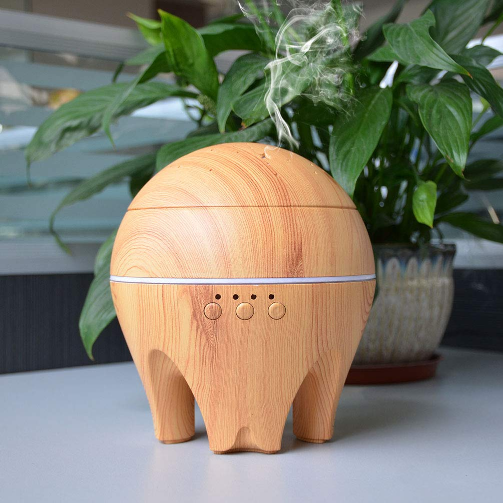 UK BONITOYS Wood Ultrasonic Cold Mist Humidifier Aromatherapy Essential Oil Diffuser with Adjustable Fogging and 7 LED Color Lights (Yellow) by UK BONITOYS (Image #6)