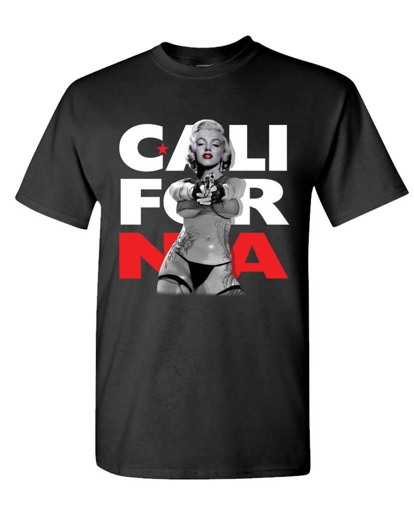 California Marilyn With Gun S T Shirt 5937