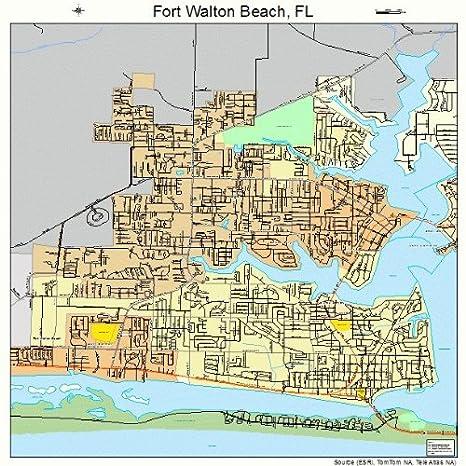 Map Of Fort Walton Beach Florida.Amazon Com Large Street Road Map Of Fort Walton Beach Florida Fl