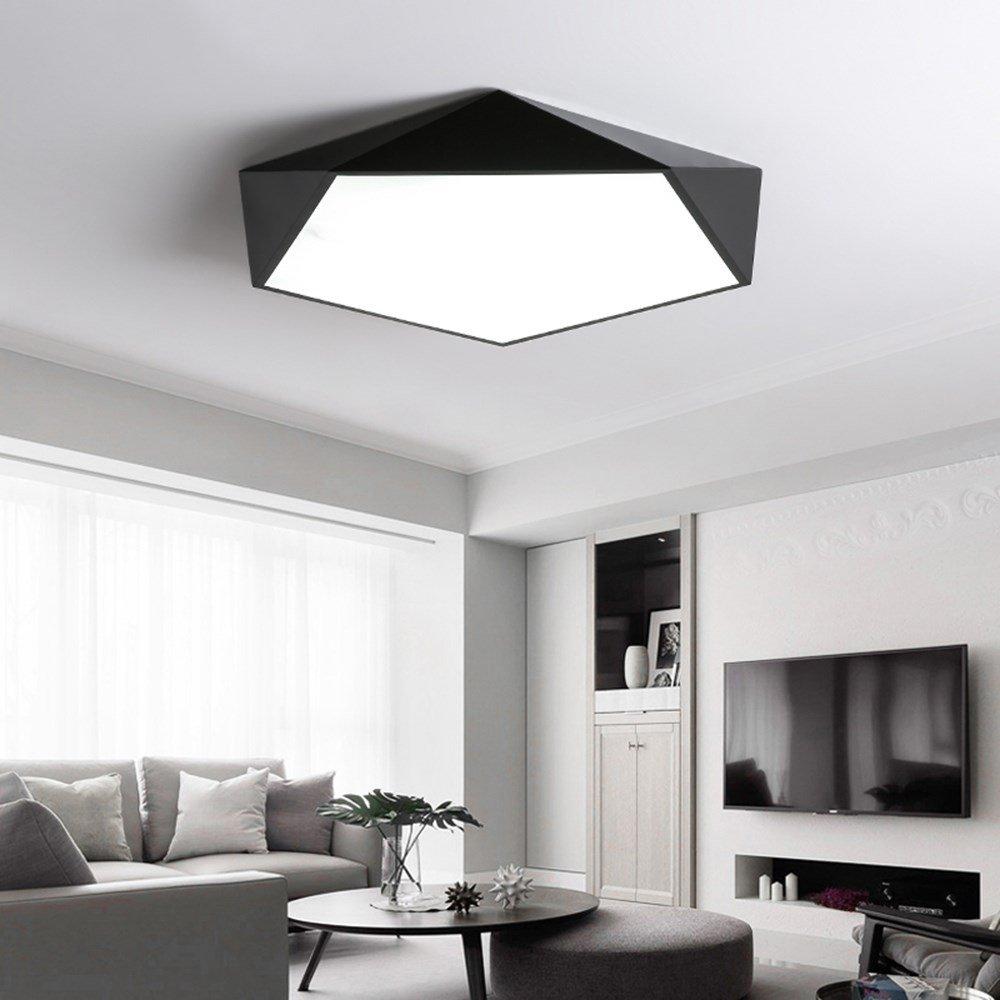 Joeyhome Dimmbare LED Deckenleuchten Design kreative Geometrie Luminaria Wohnzimmer Gang Balkon Lampe Plafond Chambre Deckenbeleuchtung, schwarz D40CM, warnen weiß