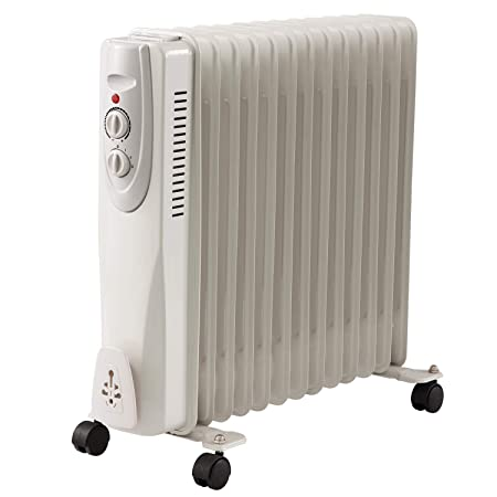 1d8bb4ee880 Glowmaster UK Oil Filled Radiator Electric Heaters Black White Portable 3  Setting Thermostat (White