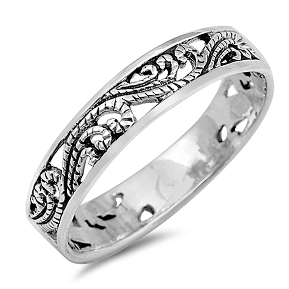 Filigree Cutout Fashion Stackable Ring New .925 Sterling Silver Band Size 4