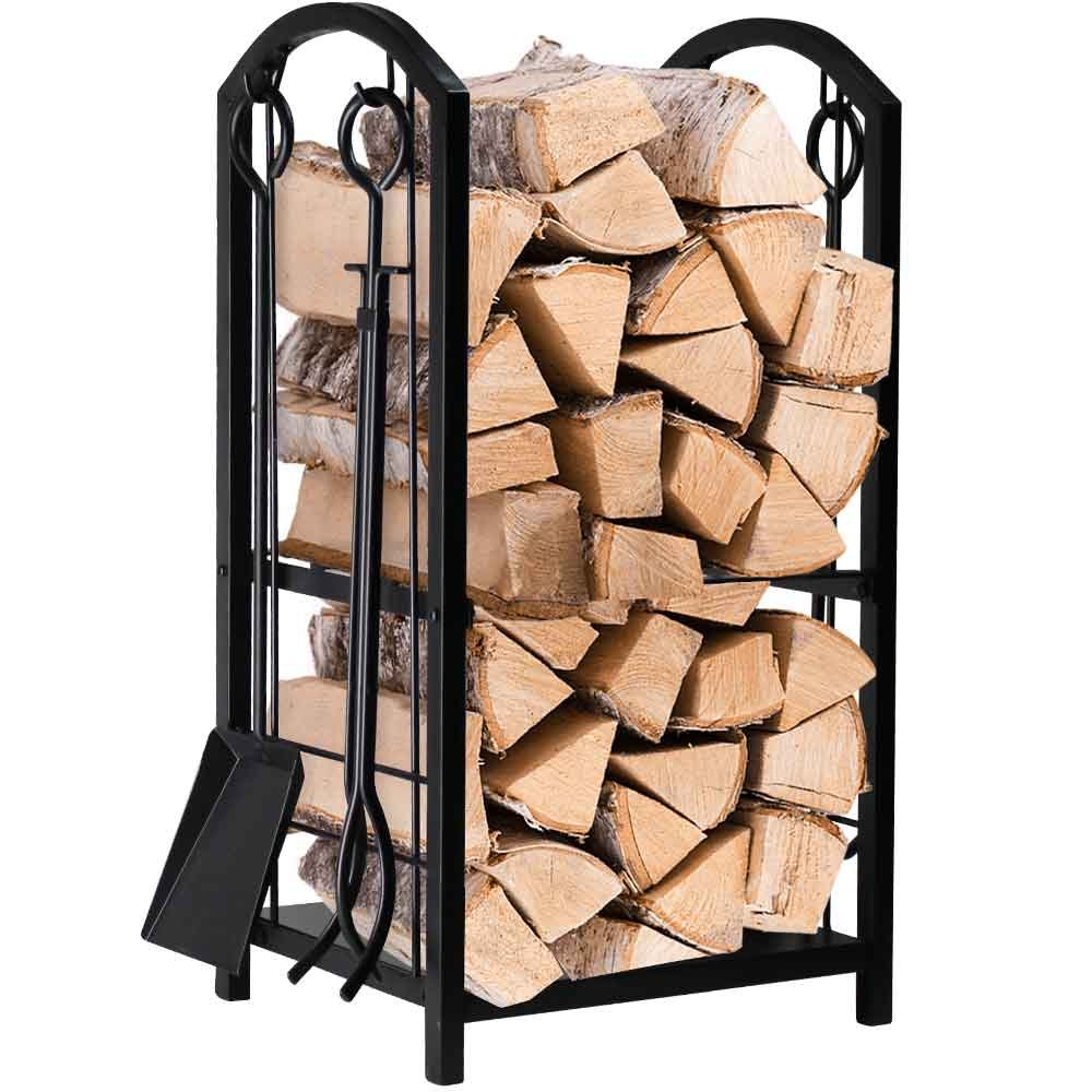 Fireplace Log Rack with 4 Tools Indoor Outdoor Fireside Firewood Holders Lumber Storage Stacking Black Wrought Iron Logs Bin Holder for Fireplace Tool by AMAGABELI GARDEN & HOME