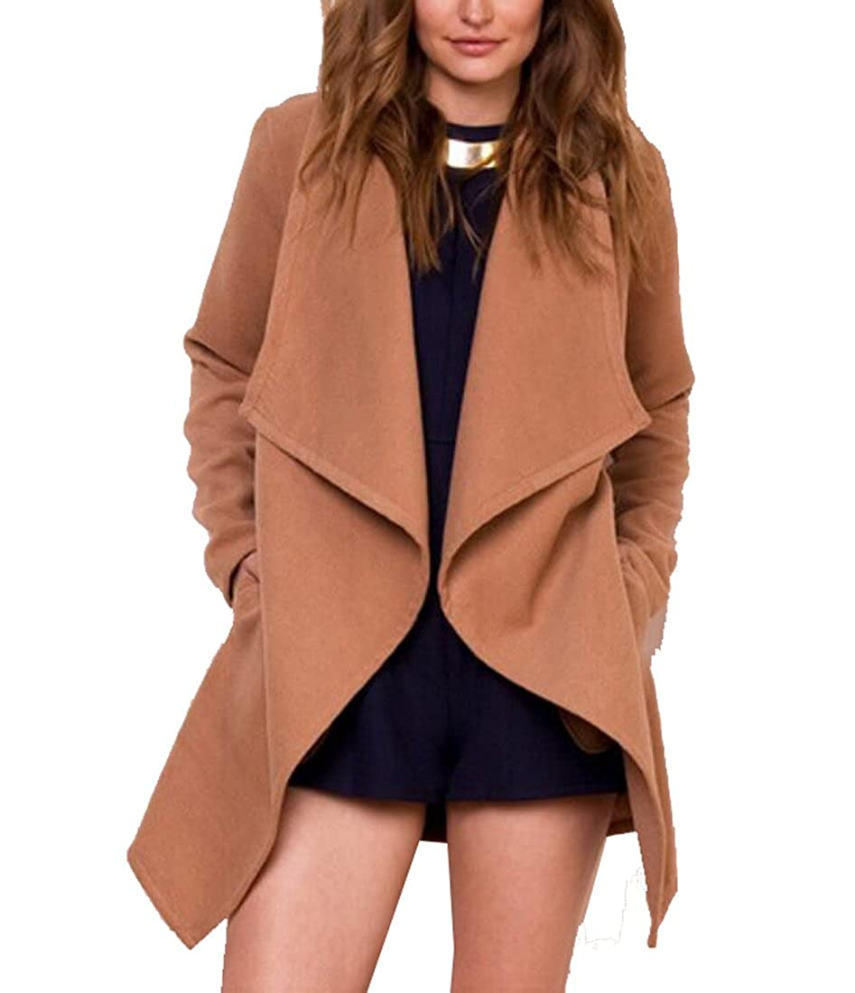 Womens Coat,Long Sleeve Wrapped Trench Coat Windbreaker Jacket with Belt