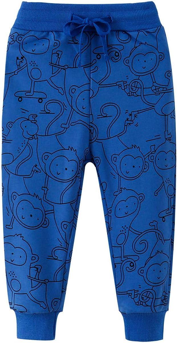 REWANGOING 2 Pack of Little Boys Cartoon Print Drawstring Elastic Sweatpants Sport Jogger