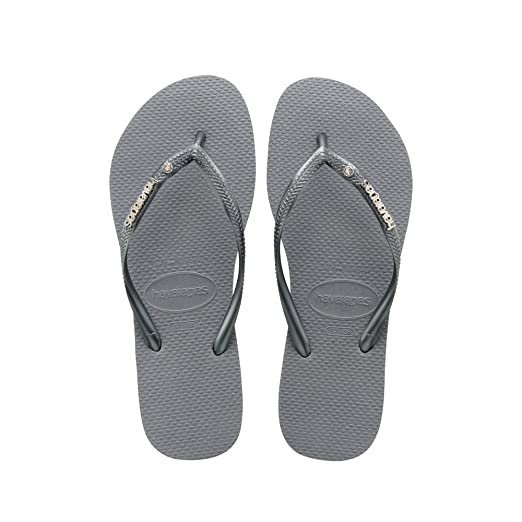 bed92e6fdd72ee Image Unavailable. Image not available for. Color  Havaianas Slim Logo  Metallic Crystal Womens Sandals Grey