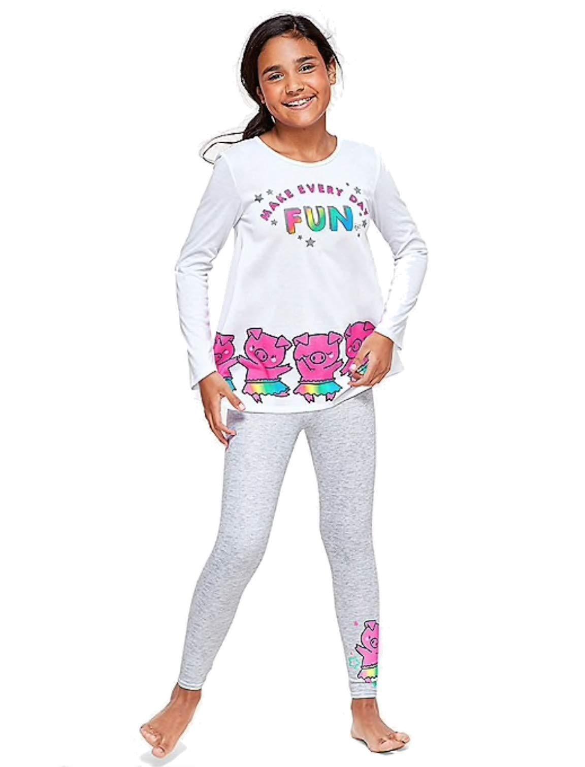 Justice Girls Nightgown, or Pajama Set Top & Pants Bundle (Pig Make Everyday Fun, 8) by Generic (Image #1)