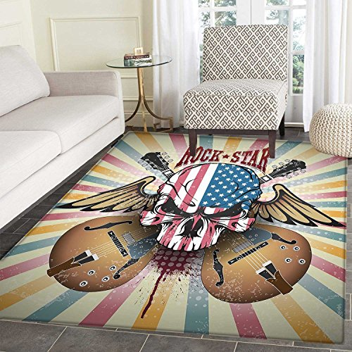 Guitar Rug Kid Carpet Retro Style Composition Angry Skull Am