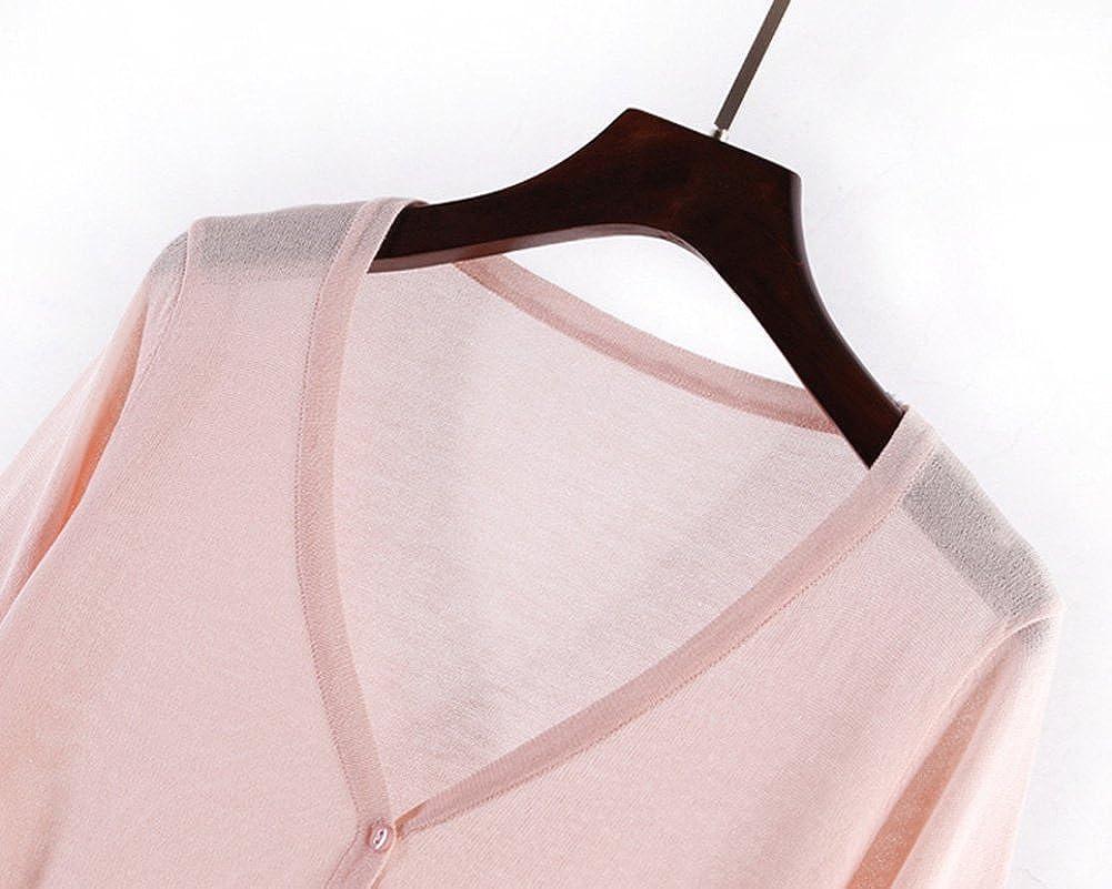 Classic Pink Cardigan Donna Estate Golfino Leggero a Manica Lunga knite-Tops