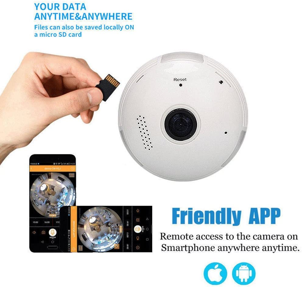 Hidden Camera for Home Security,Joney 960P WiFi Wireless IP Camera with Fisheye Lens 360/° Panoramic for Remote Home Security System,Motion Detection 1.3 MegaPixel