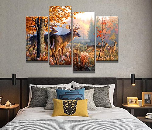 4 Panel Wall Art Whitetail Deer In Autumn Sunlight Forest Painting The Picture Prints On Canvas Animal Pictures For Home Decor Decoration Gift piece