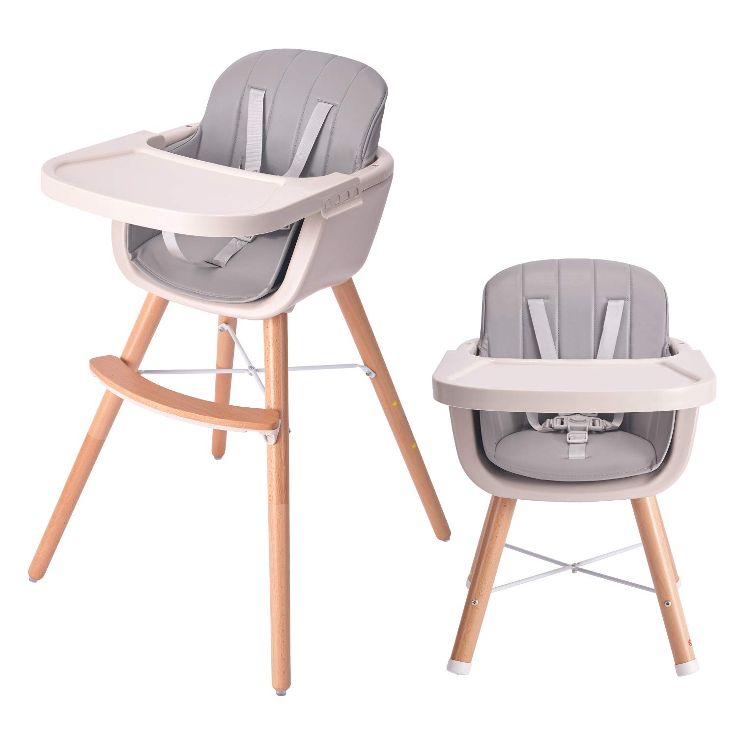 HAN-MM Baby High Chair with Removable Gray Tray, Wooden High Chair, Adjustable Legs, Harness, Feeding Baby High Chairs for Baby/Infants/Toddlers Style 2 Grey by HAN-MM