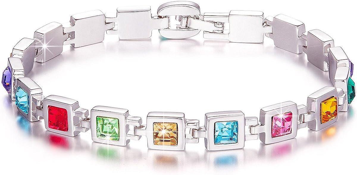 Kami Idea Pulsera de Tenis, Dulce Caramelo, Piedra Preciosa del Arco Iris, Cristal de Swarovski, Embalaje de Regalo, Regalos para Mamá