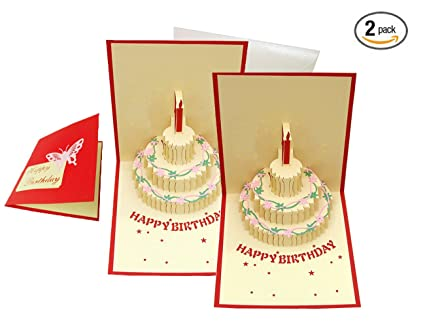 Amazon Happy Birthday Cake Pop Up Greeting Card 2 Pack