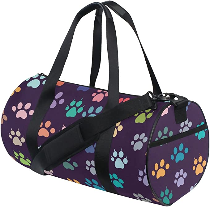 WIHVE Gym Duffel Bag Cat Or Dog Footprints Sports Lightweight Canvas Travel Luggage Bag