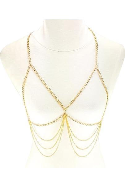 79a2560cbc Womens Sexy Club Bikini Bralette Rhinestones Chain Bra Necklace JBR10 (Gold  (JBR1031))
