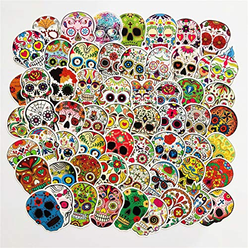 (Colorful Skull Stickers 60pcs Tribal Totem Painting Waterproof Laptop Stickers Motorcycle Bicycle Luggage Decal Graffiti Patches for Teens (Skull)