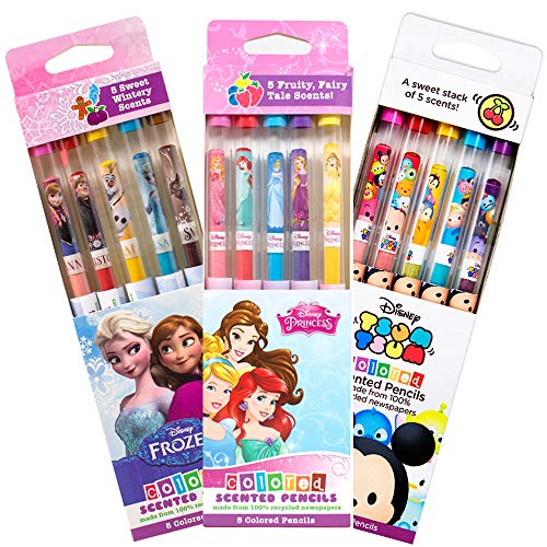 Scentco Disney Colored Smencil Bundle - Scented Colored Pencils - Frozen, Princess, Tsum Tsum - 15 Ct