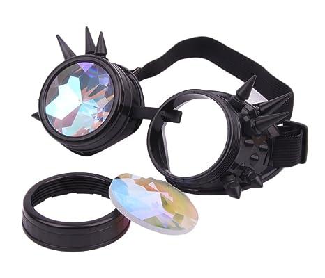C&X Kaleidoscope de rivet lunettes lunettes de soleil de lunettes de Steampunk rondes lunettes de mode (Anti-Argent) G9LAPlY5