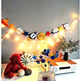 Outer Space Alien Banner With String Light and 15 pcs Rocket Star Cake Cupcake Toppers Cool Outer Space Rocket Party Decoration Set