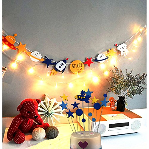 jiahai Outer Space Alien Banner With String Light and 15 pcs Rocket Star Cake Cupcake Toppers Cool Outer Space Rocket Party Decoration Set