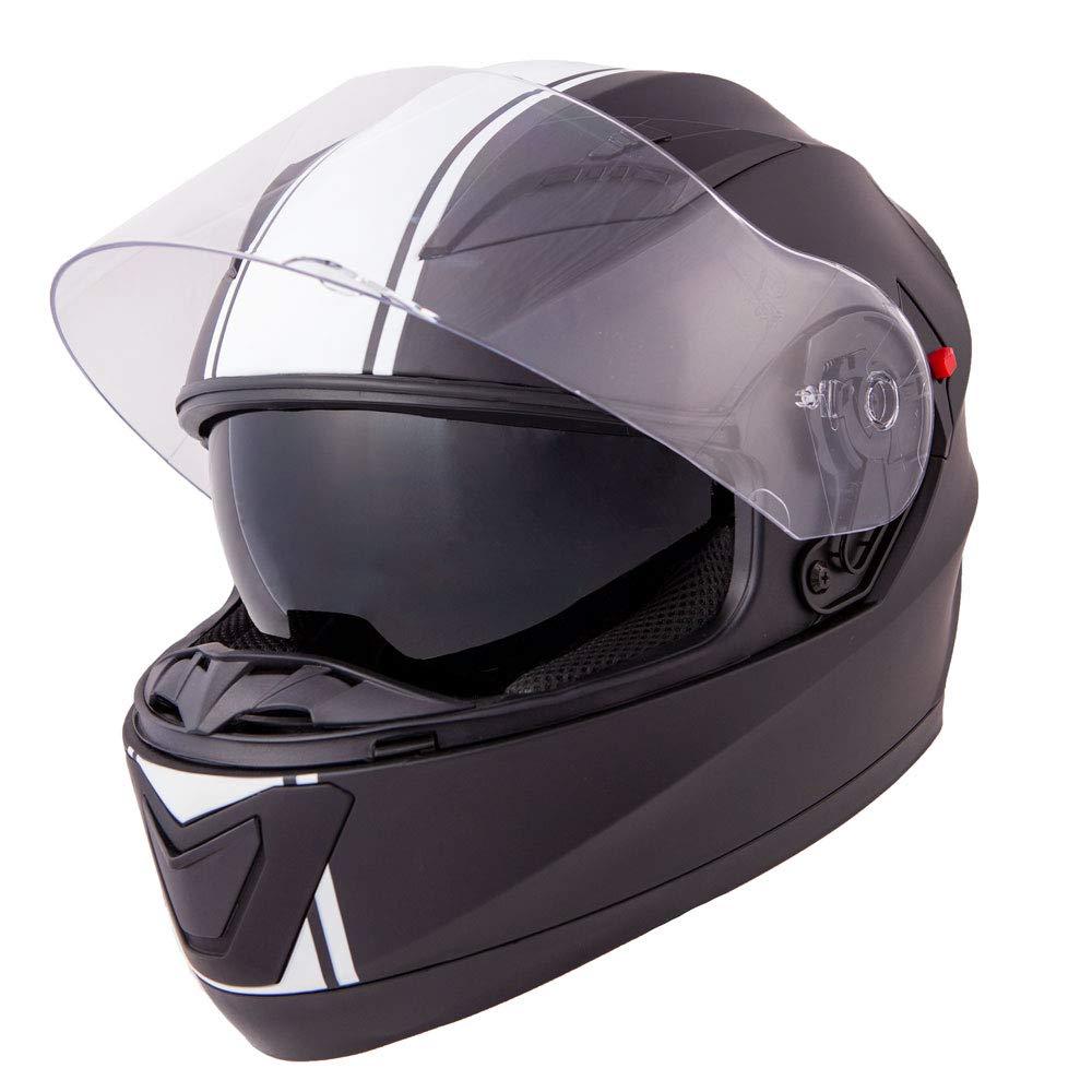 L Vinz Integralhelm//Rollerhelm , Wei/ß//Schwarz S-XL 59-60 cm Motorradhelm in Gr Integral Helm mit Sonnenblende