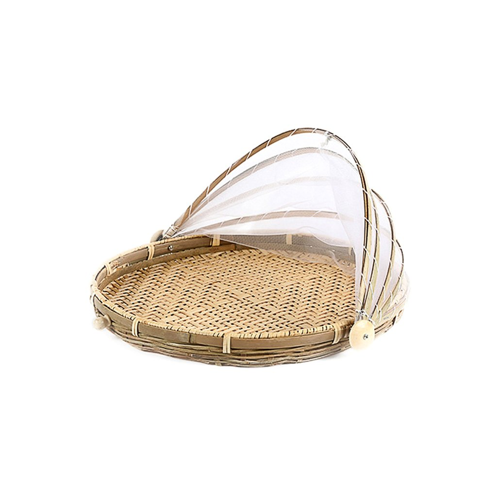 Hand-woven Bamboo Holes Insect-Proof Dust-Proof Basket Round Dustpan Basket Picnic Basket Food Tent Basket with Mesh Gauze Cover for Vegetable Fruit Bread