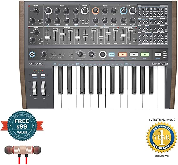 Arturia MiniBrute 2 Semi-modular Analog Synthesizer includes Free Wireless Earbuds - Stereo Bluetooth In-ear and 1 Year Everything Music Extended Warranty