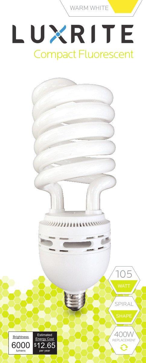 Luxrite LR20225 (6-Pack) 105-Watt High Wattage CFL Spiral Light Bulb, Equivalent To 400W Incandescent, Warm White 2700K, 6000 Lumens, E26 Standard Base