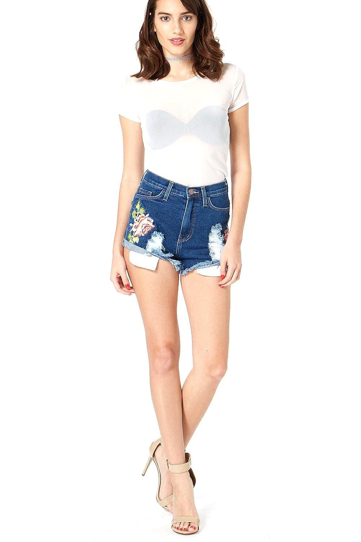 Edgelook Floral Embroidered Distressed Denim Shorts