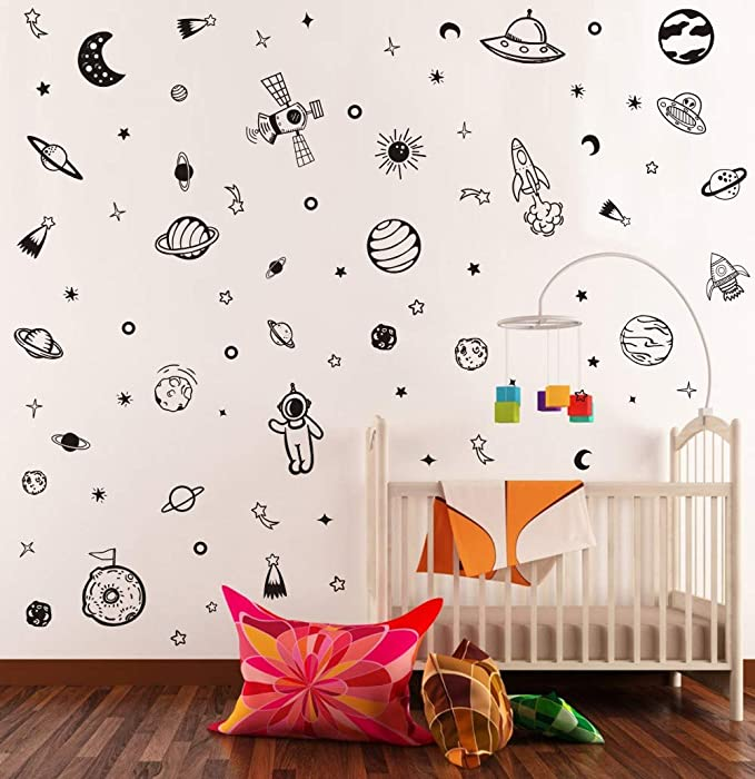 Solar System Planet Wall Sticker for Kids Room Classroom Decoration TOARTi Black Space Wall Decal 79Pcs Minimalist Planets Stars Vinyl Decal